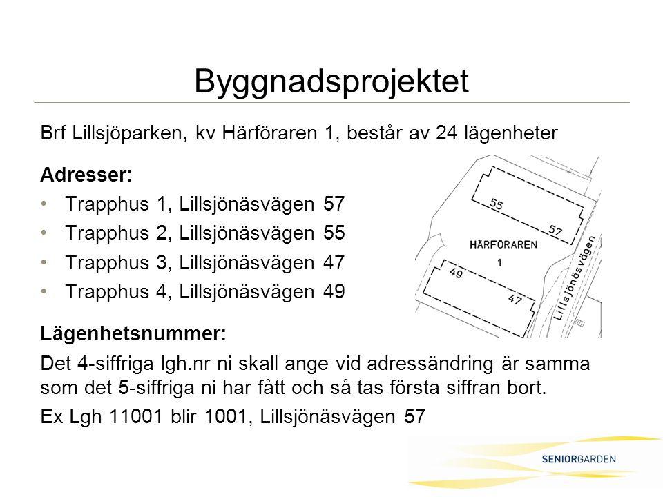 Byggnadsprojektet Brf Lillsjöparken, kv Härföraren 1, består av 24 lägenheter Adresser: Trapphus 1, Lillsjönäsvägen 57 Trapphus 2, Lillsjönäsvägen 55 Trapphus 3, Lillsjönäsvägen 47 Trapphus 4, Lillsjönäsvägen 49 Lägenhetsnummer: Det 4-siffriga lgh.nr ni skall ange vid adressändring är samma som det 5-siffriga ni har fått och så tas första siffran bort.