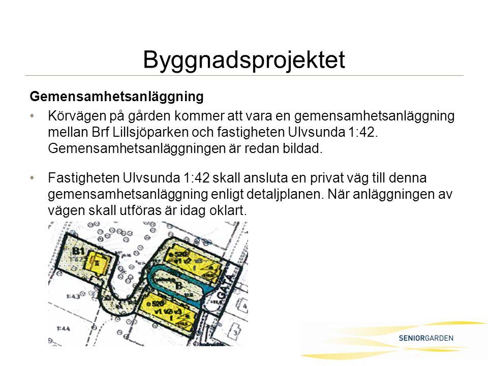Gemensamhetsanläggning Körvägen på gården kommer att vara en gemensamhetsanläggning mellan Brf Lillsjöparken och fastigheten Ulvsunda 1:42.