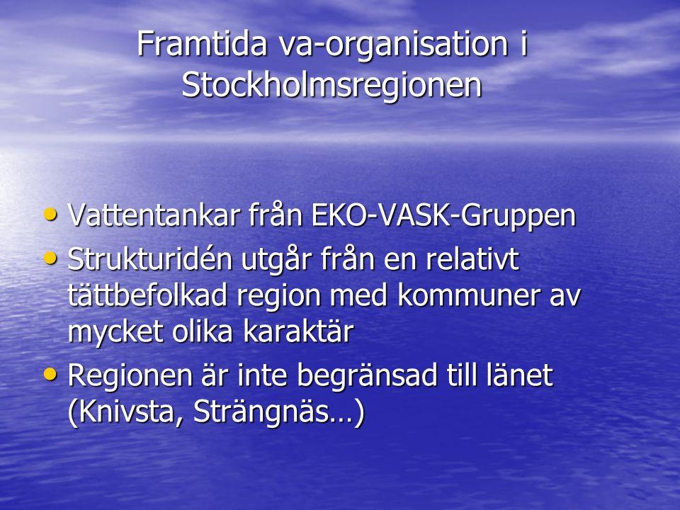 Framtida va-organisation i Stockholmsregionen Vattentankar från EKO-VASK-Gruppen Vattentankar från EKO-VASK-Gruppen Strukturidén utgår från en relativt tättbefolkad region med kommuner av mycket olika karaktär Strukturidén utgår från en relativt tättbefolkad region med kommuner av mycket olika karaktär Regionen är inte begränsad till länet (Knivsta, Strängnäs…) Regionen är inte begränsad till länet (Knivsta, Strängnäs…)