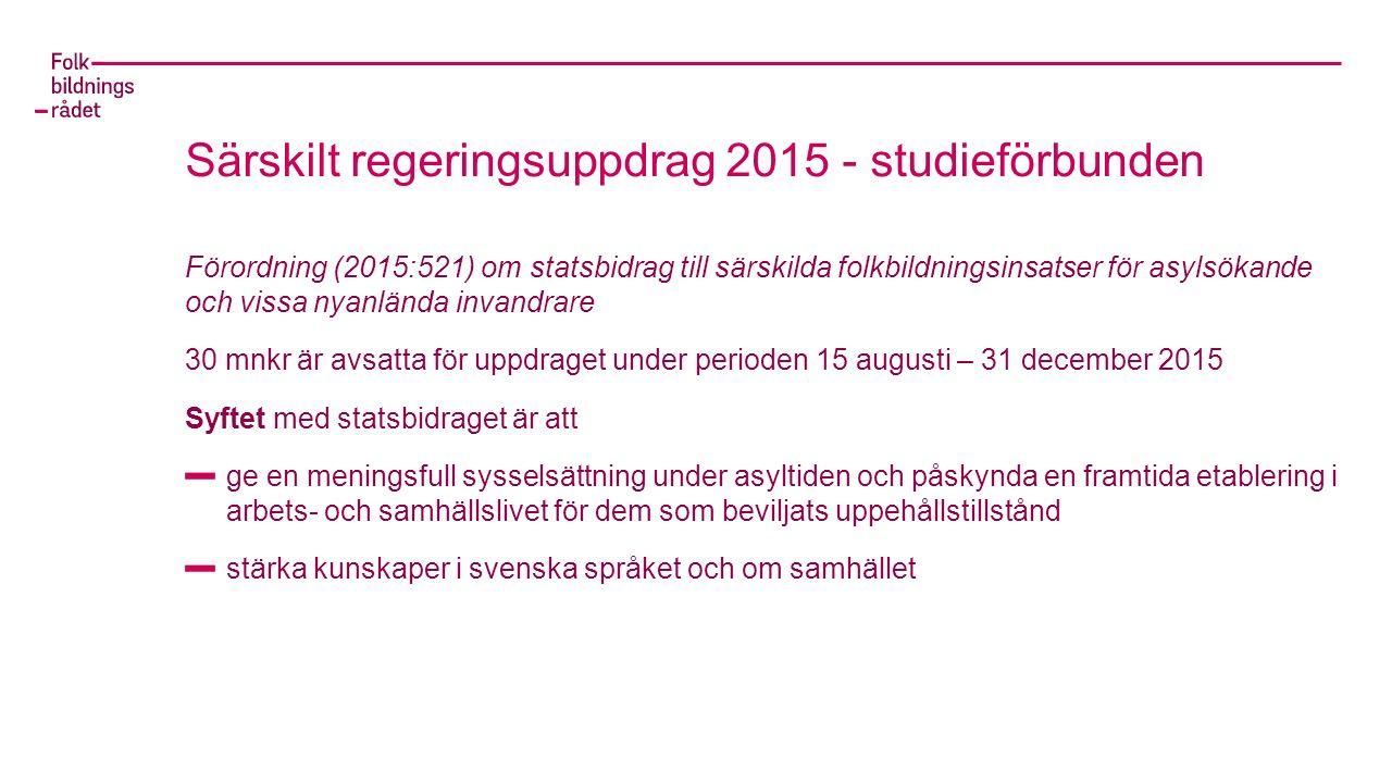 Särskilt regeringsuppdrag 2015 - studieförbunden Förordning (2015:521) om statsbidrag till särskilda folkbildningsinsatser för asylsökande och vissa nyanlända invandrare 30 mnkr är avsatta för uppdraget under perioden 15 augusti – 31 december 2015 Syftet med statsbidraget är att ge en meningsfull sysselsättning under asyltiden och påskynda en framtida etablering i arbets- och samhällslivet för dem som beviljats uppehållstillstånd stärka kunskaper i svenska språket och om samhället