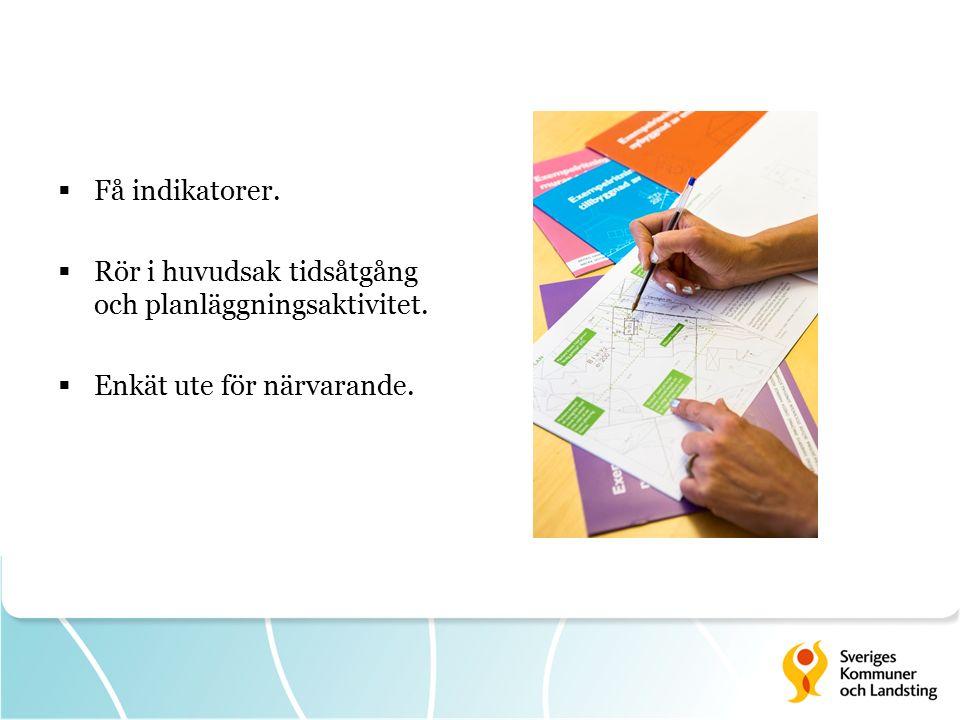  Få indikatorer.  Rör i huvudsak tidsåtgång och planläggningsaktivitet.