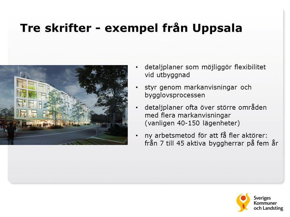 Tre skrifter - exempel från Uppsala detaljplaner som möjliggör flexibilitet vid utbyggnad styr genom markanvisningar och bygglovsprocessen detaljplaner ofta över större områden med flera markanvisningar (vanligen 40-150 lägenheter) ny arbetsmetod för att få fler aktörer: från 7 till 45 aktiva byggherrar på fem år