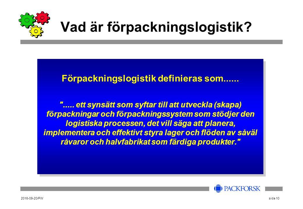 2016-09-20/PWsida 10 Vad är förpackningslogistik? Förpackningslogistik definieras som......