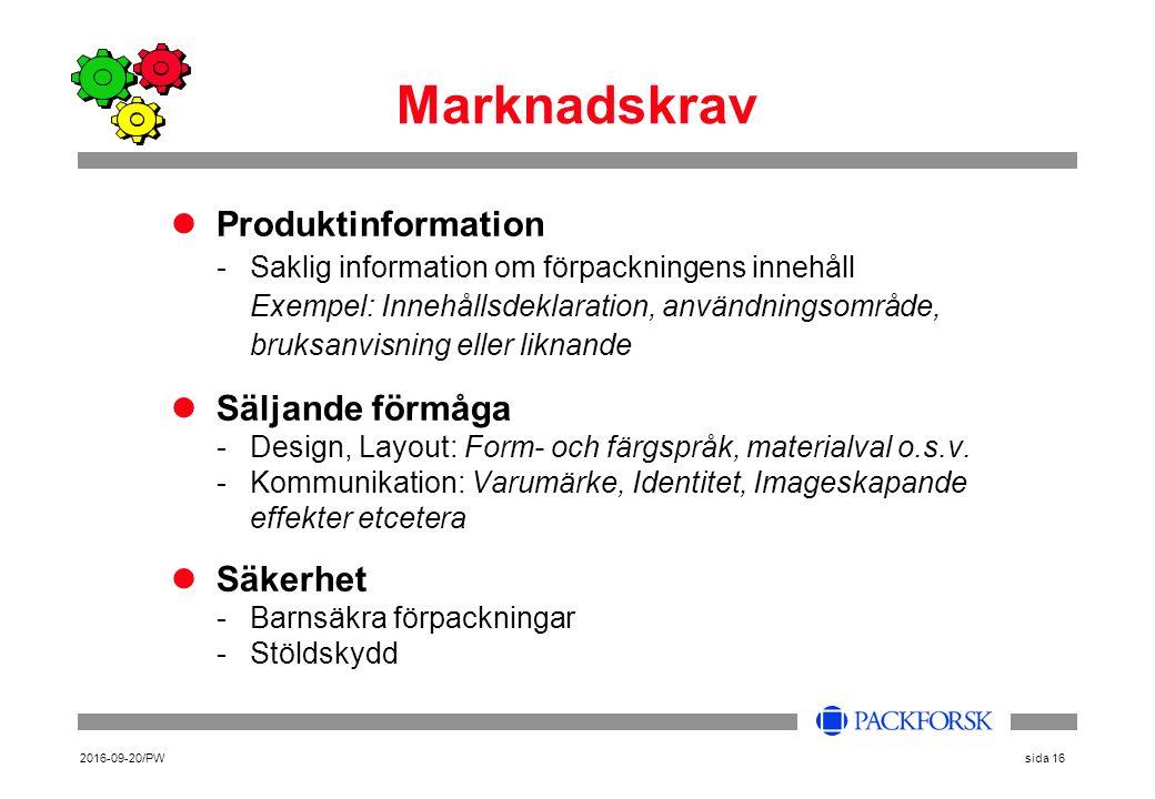 2016-09-20/PWsida 16 Marknadskrav Produktinformation -Saklig information om förpackningens innehåll Exempel: Innehållsdeklaration, användningsområde, bruksanvisning eller liknande Säljande förmåga -Design, Layout: Form- och färgspråk, materialval o.s.v.