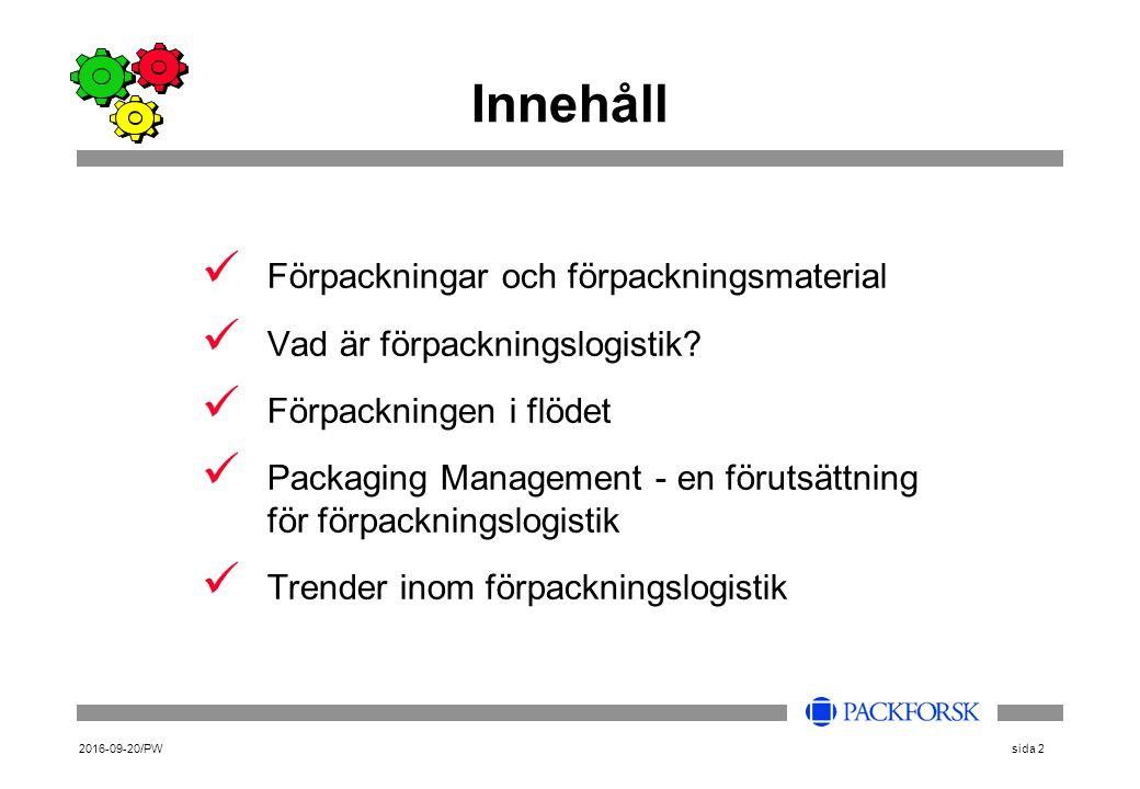 2016-09-20/PWsida 2 Innehåll Förpackningar och förpackningsmaterial Vad är förpackningslogistik? Förpackningen i flödet Packaging Management - en föru