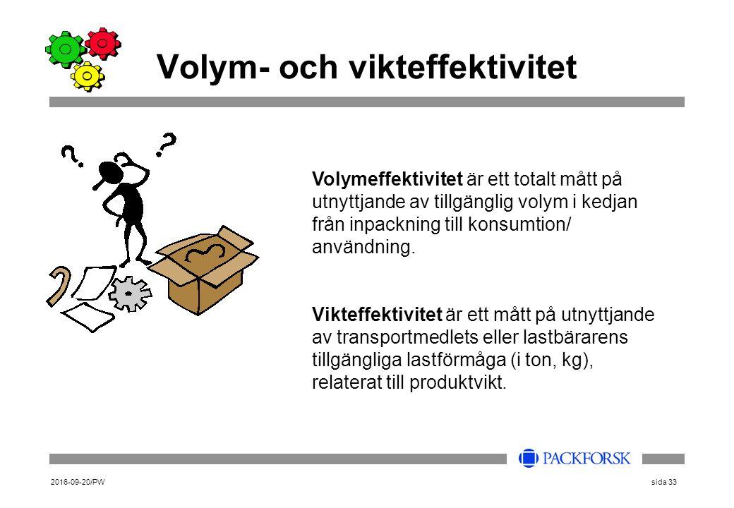 2016-09-20/PWsida 33 Volym- och vikteffektivitet Volymeffektivitet är ett totalt mått på utnyttjande av tillgänglig volym i kedjan från inpackning till konsumtion/ användning.
