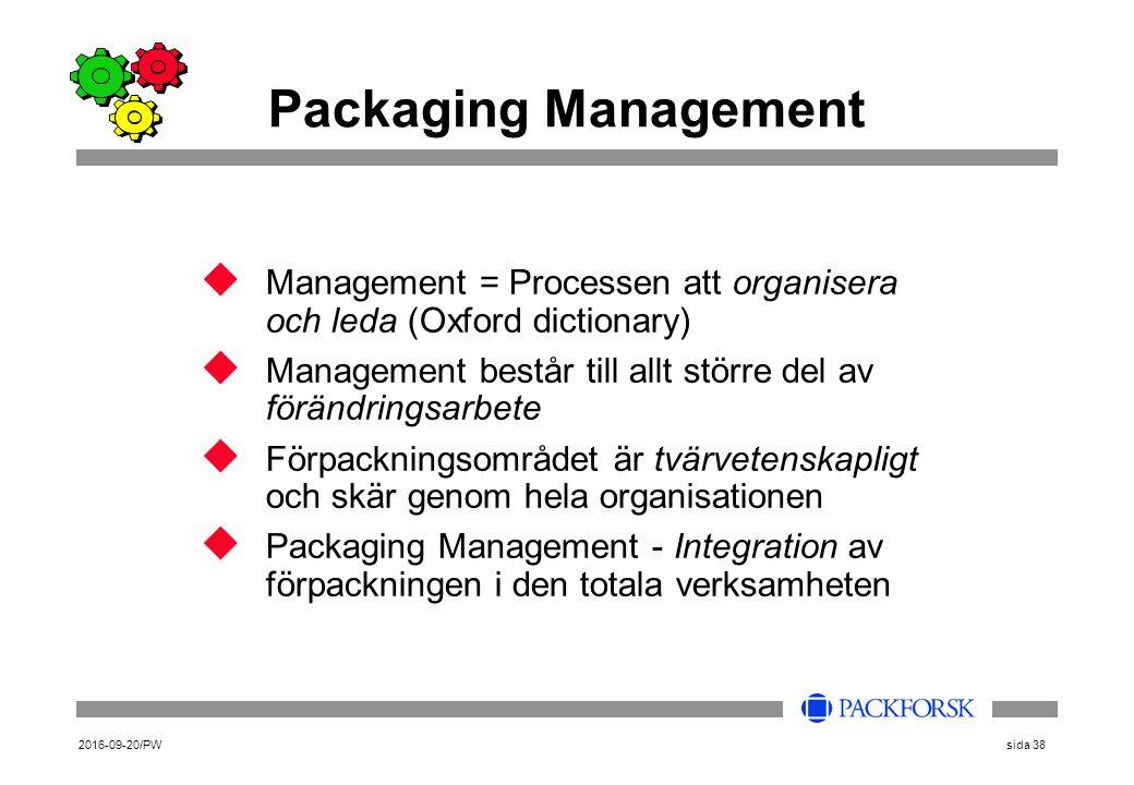 2016-09-20/PWsida 38 u Management = Processen att organisera och leda (Oxford dictionary) u Management består till allt större del av förändringsarbet