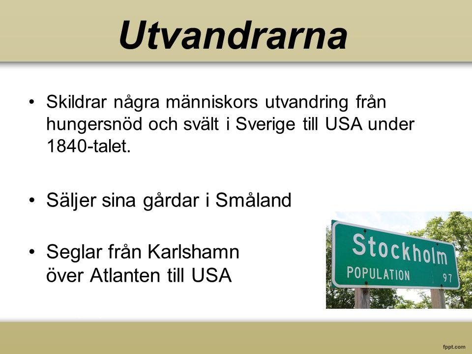 Skildrar några människors utvandring från hungersnöd och svält i Sverige till USA under 1840-talet.