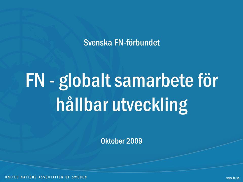 Svenska FN-förbundet FN - globalt samarbete för hållbar utveckling Oktober 2009