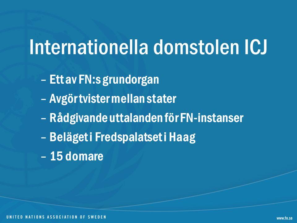 Internationella domstolen ICJ –Ett av FN:s grundorgan –Avgör tvister mellan stater –Rådgivande uttalanden för FN-instanser –Beläget i Fredspalatset i Haag –15 domare