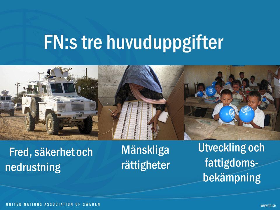 FN:s tre huvuduppgifter Fred, säkerhet och nedrustning Mänskliga rättigheter Utveckling och fattigdoms- bekämpning