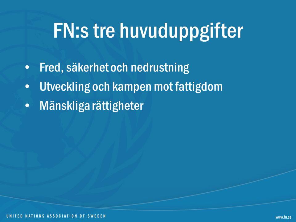 FN:s tre huvuduppgifter Fred, säkerhet och nedrustning Utveckling och kampen mot fattigdom Mänskliga rättigheter