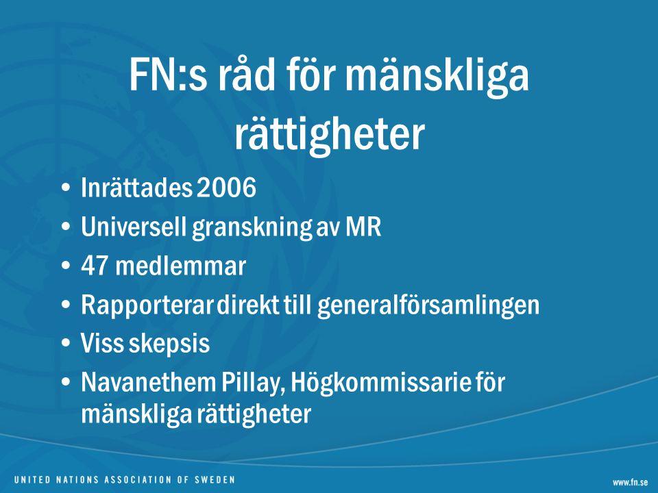 Inrättades 2006 Universell granskning av MR 47 medlemmar Rapporterar direkt till generalförsamlingen Viss skepsis Navanethem Pillay, Högkommissarie för mänskliga rättigheter FN:s råd för mänskliga rättigheter