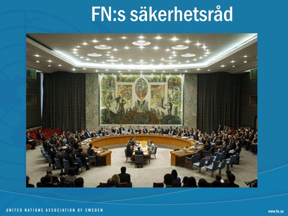 5 permanenta medlemmar 10 medlemmar valda på två år Permanenta medlemmar har veto Beslut är bindande Beslutar om fredsbevarande insatser Sanktioner Tillfälliga krigsförbrytartribunaler