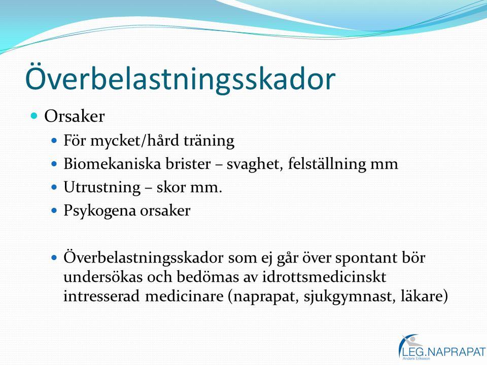 Överbelastningsskador Orsaker För mycket/hård träning Biomekaniska brister – svaghet, felställning mm Utrustning – skor mm. Psykogena orsaker Överbela