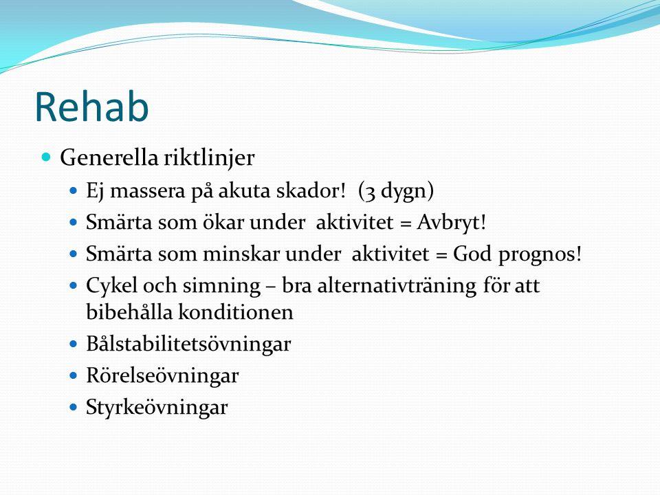 Rehab Generella riktlinjer Ej massera på akuta skador! (3 dygn) Smärta som ökar under aktivitet = Avbryt! Smärta som minskar under aktivitet = God pro