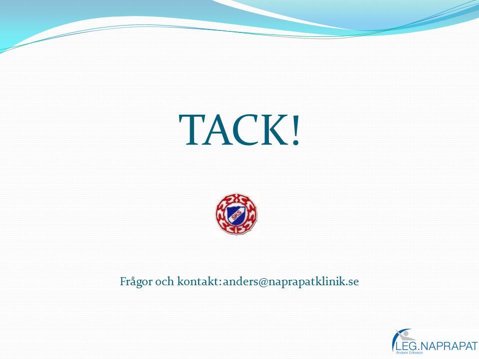 TACK! Frågor och kontakt: anders@naprapatklinik.se