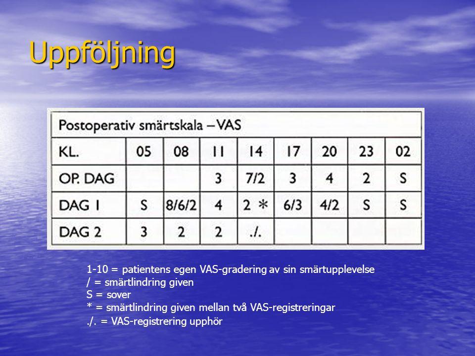 Uppföljning 1-10 = patientens egen VAS-gradering av sin smärtupplevelse / = smärtlindring given S = sover * = smärtlindring given mellan två VAS-regis