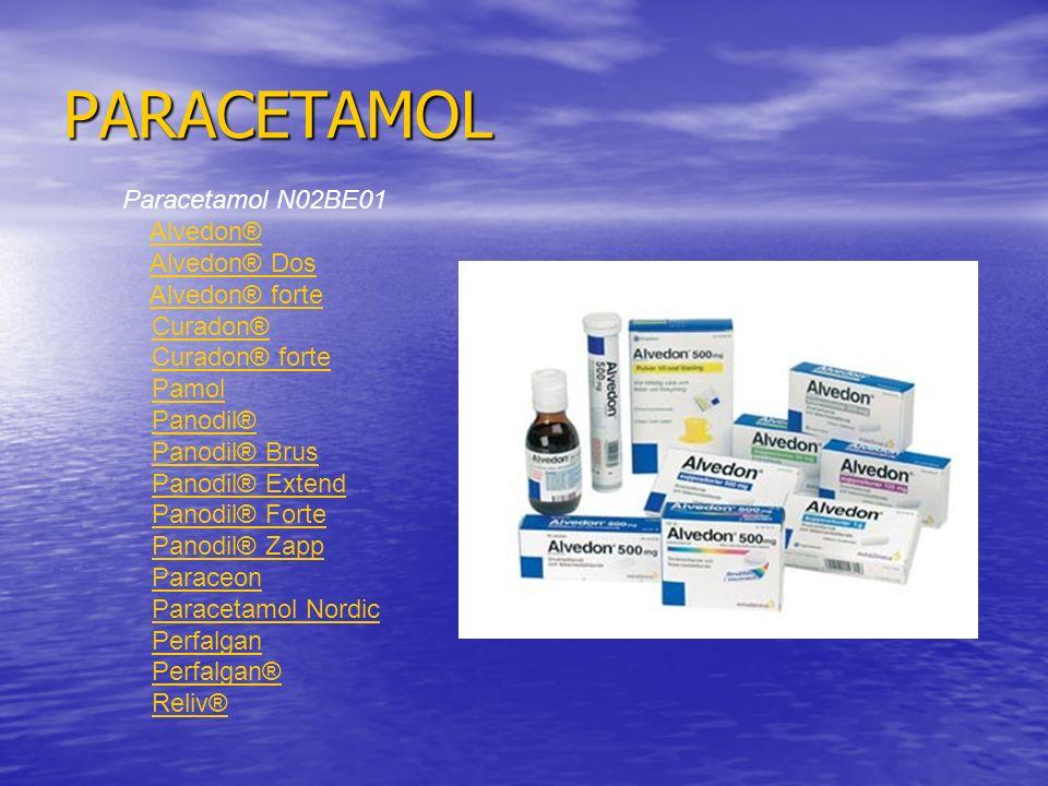 PARACETAMOL Paracetamol N02BE01 Alvedon® Alvedon® Dos Alvedon® forte Curadon® Curadon® forte Pamol Panodil® Panodil® Brus Panodil® Extend Panodil® Forte Panodil® Zapp Paraceon Paracetamol Nordic Perfalgan Perfalgan® Reliv®