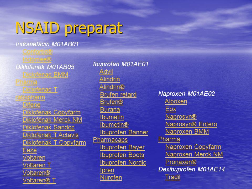 Indometacin M01AB01 Confortid® Indomee® Diklofenak M01AB05 Diclofenac BMM PharmaDiclofenac BMM Pharma Diclofenac T ratiopharmDiclofenac T ratiopharm D