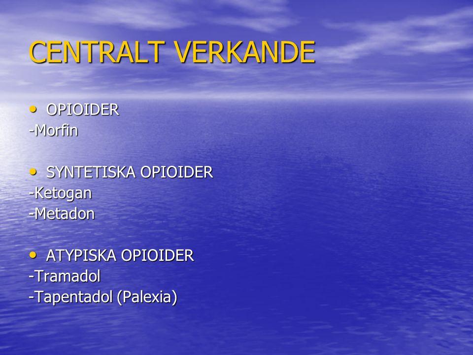 CENTRALT VERKANDE OPIOIDER OPIOIDER-Morfin SYNTETISKA OPIOIDER SYNTETISKA OPIOIDER-Ketogan-Metadon ATYPISKA OPIOIDER ATYPISKA OPIOIDER-Tramadol -Tapentadol (Palexia)