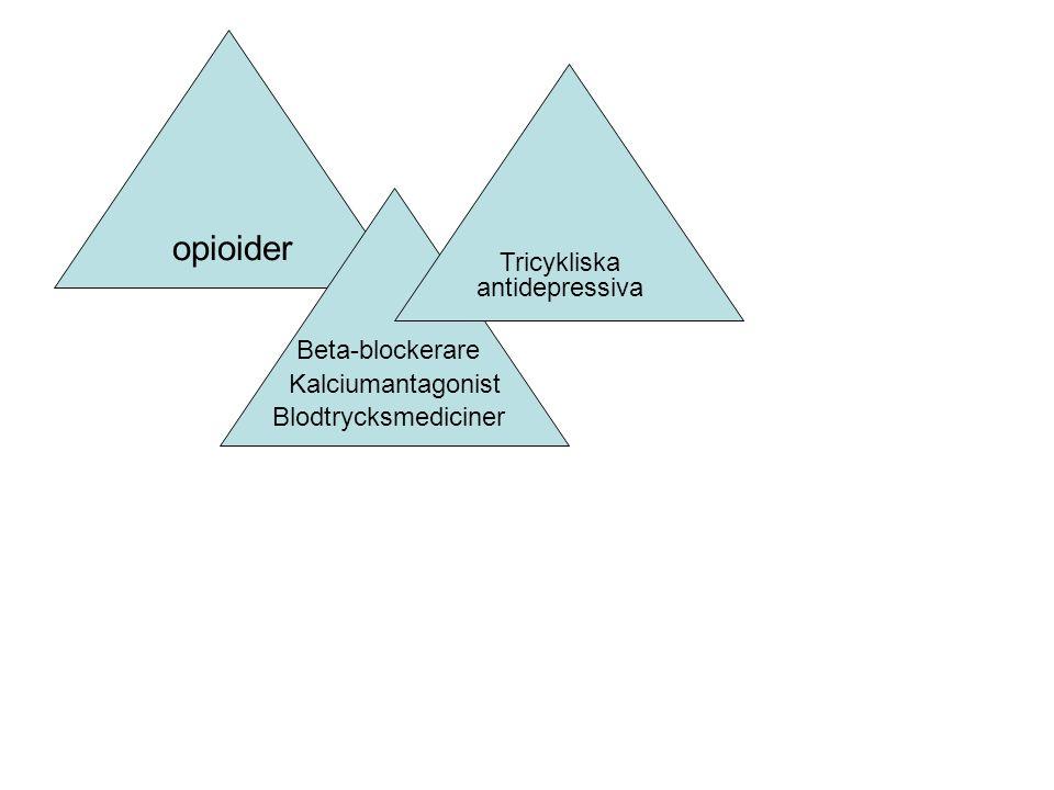 opioider Blodtrycksmediciner Beta-blockerare Kalciumantagonist Tricykliska antidepressiva