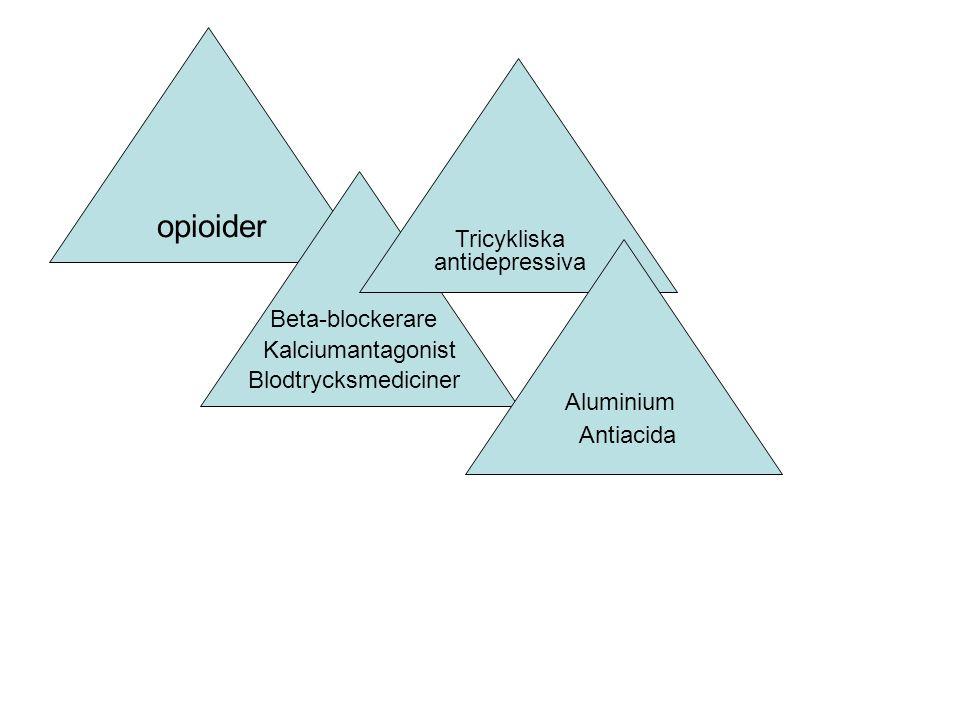 opioider Blodtrycksmediciner Beta-blockerare Kalciumantagonist Tricykliska antidepressiva Antiacida Aluminium