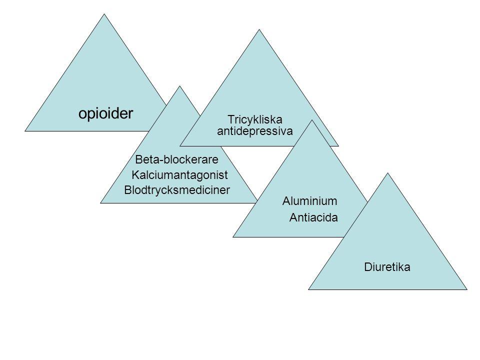 opioider Blodtrycksmediciner Beta-blockerare Kalciumantagonist Tricykliska antidepressiva Antiacida Diuretika Aluminium