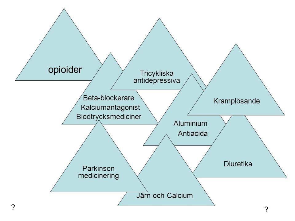 opioider Blodtrycksmediciner Beta-blockerare Kalciumantagonist Tricykliska antidepressiva Antiacida Diuretika Kramplösande Järn och Calcium Parkinson medicinering Aluminium .