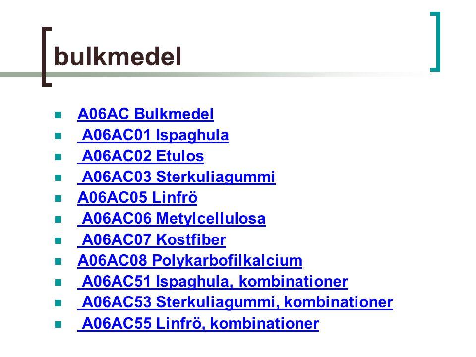 bulkmedel A06AC Bulkmedel A06AC01 Ispaghula A06AC02 Etulos A06AC03 Sterkuliagummi A06AC05 Linfrö A06AC06 Metylcellulosa A06AC07 Kostfiber A06AC08 Polykarbofilkalcium A06AC51 Ispaghula, kombinationer A06AC53 Sterkuliagummi, kombinationer A06AC55 Linfrö, kombinationer