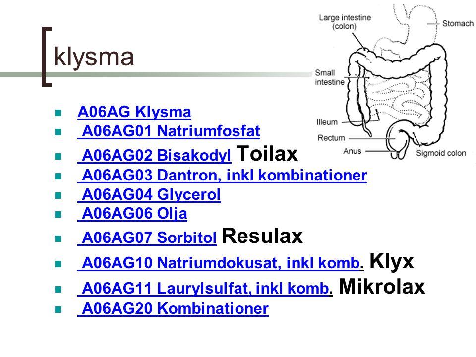 klysma A06AG Klysma A06AG01 Natriumfosfat A06AG02 Bisakodyl Toilax A06AG02 Bisakodyl A06AG03 Dantron, inkl kombinationer A06AG04 Glycerol A06AG06 Olja A06AG07 Sorbitol Resulax A06AG07 Sorbitol A06AG10 Natriumdokusat, inkl komb.