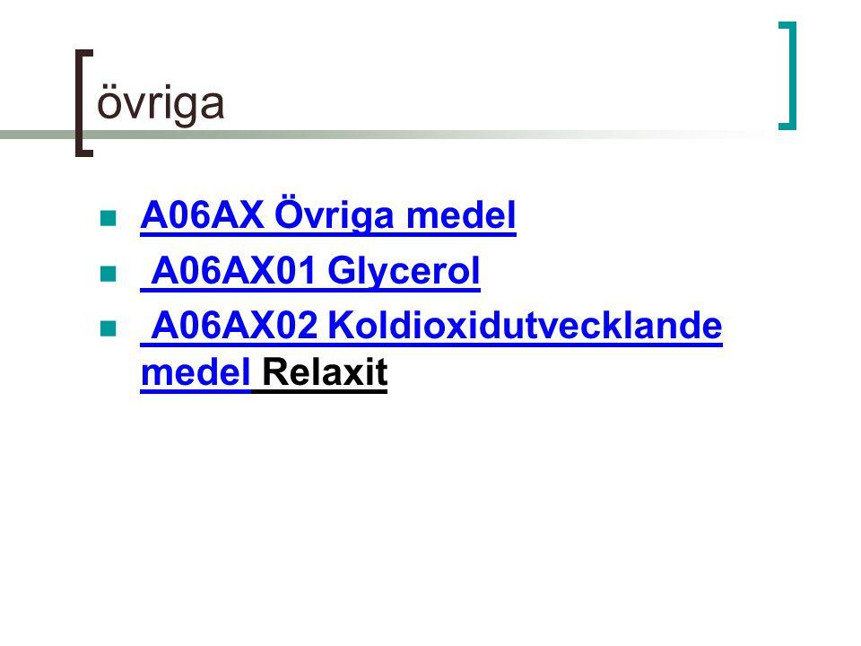 övriga A06AX Övriga medel A06AX01 Glycerol A06AX02 Koldioxidutvecklande medel Relaxit A06AX02 Koldioxidutvecklande medel