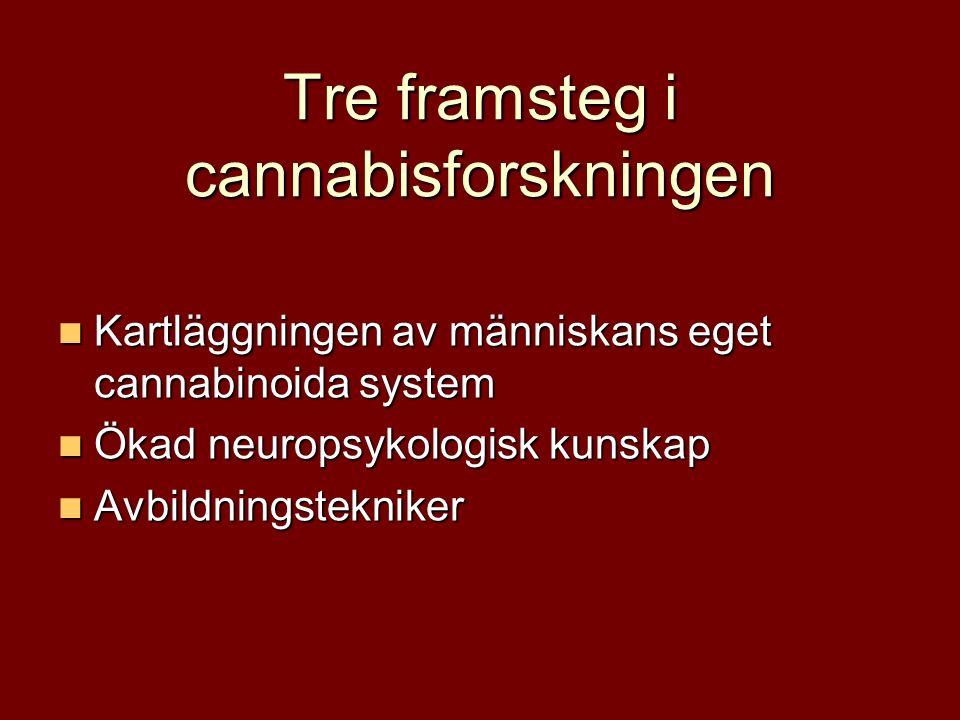 Tre framsteg i cannabisforskningen Kartläggningen av människans eget cannabinoida system Kartläggningen av människans eget cannabinoida system Ökad neuropsykologisk kunskap Ökad neuropsykologisk kunskap Avbildningstekniker Avbildningstekniker