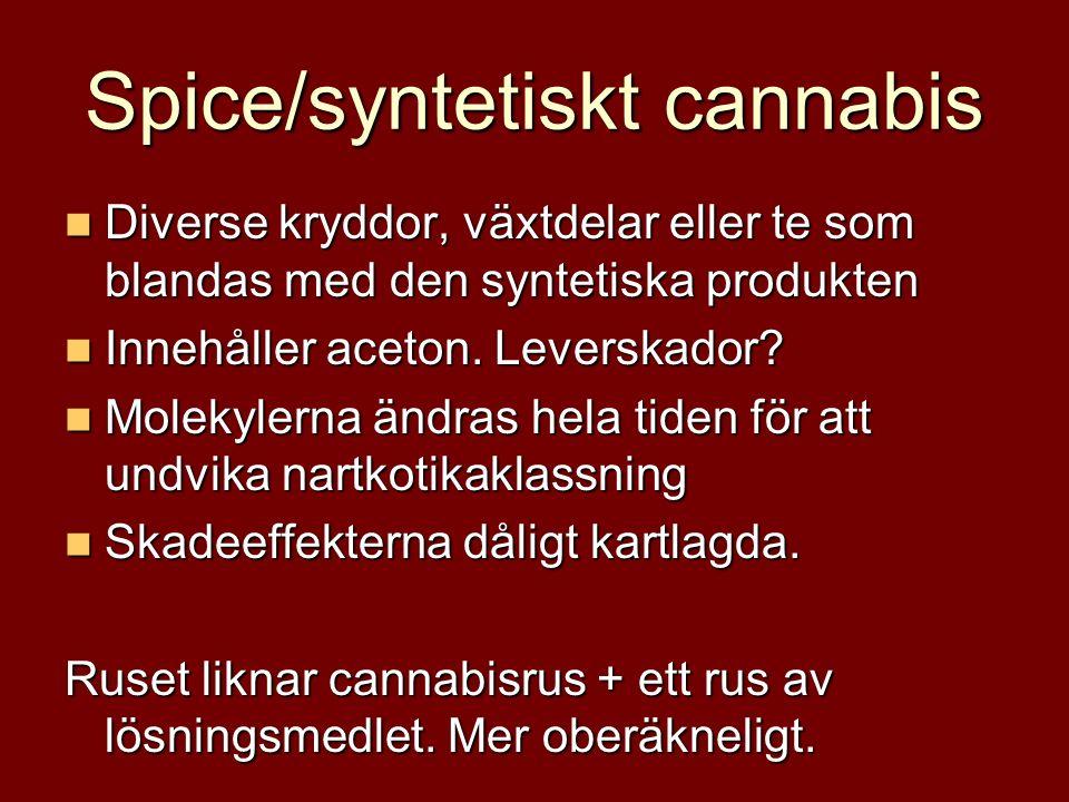 Spice/syntetiskt cannabis Diverse kryddor, växtdelar eller te som blandas med den syntetiska produkten Diverse kryddor, växtdelar eller te som blandas med den syntetiska produkten Innehåller aceton.