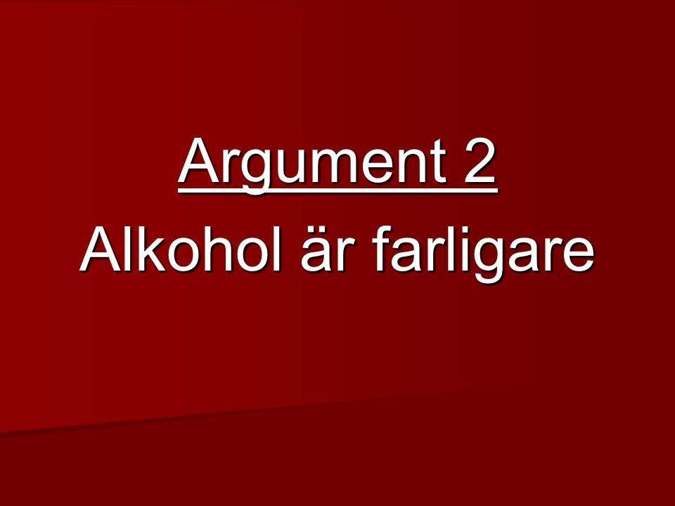 Argument 2 Alkohol är farligare