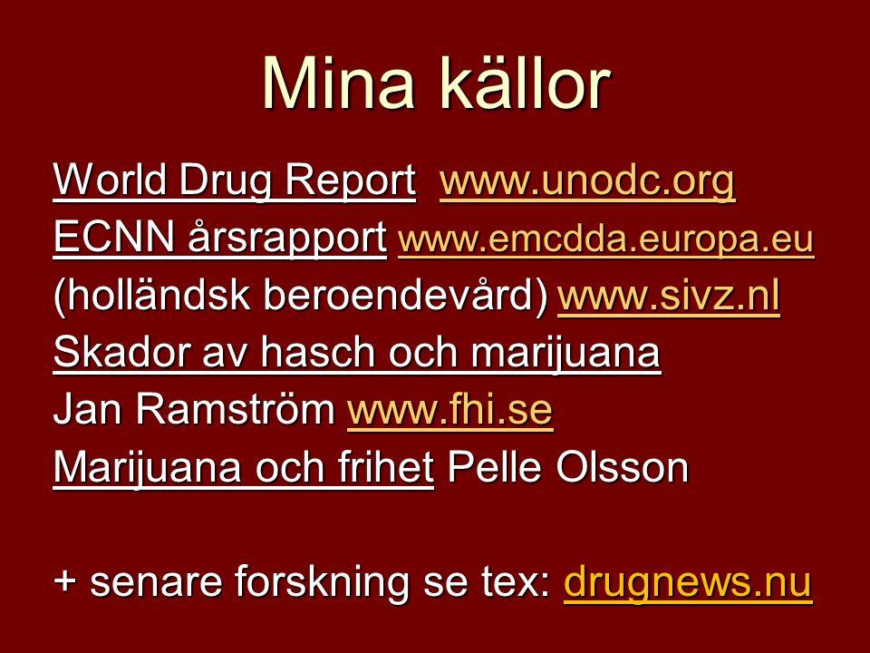 Mina källor World Drug Report www.unodc.org www.unodc.org ECNN årsrapport www.emcdda.europa.eu www.emcdda.europa.eu (holländsk beroendevård) www.sivz.nl www.sivz.nl Skador av hasch och marijuana Jan Ramström www.fhi.se www.fhi.se Marijuana och frihet Pelle Olsson + senare forskning se tex: drugnews.nu