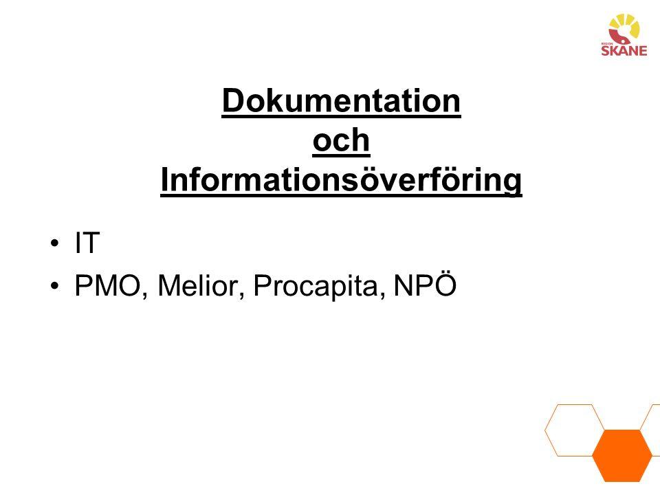 Dokumentation och Informationsöverföring IT PMO, Melior, Procapita, NPÖ