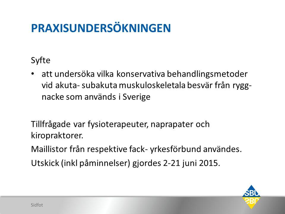 PRAXISUNDERSÖKNINGEN Syfte att undersöka vilka konservativa behandlingsmetoder vid akuta- subakuta muskuloskeletala besvär från rygg- nacke som används i Sverige Tillfrågade var fysioterapeuter, naprapater och kiropraktorer.