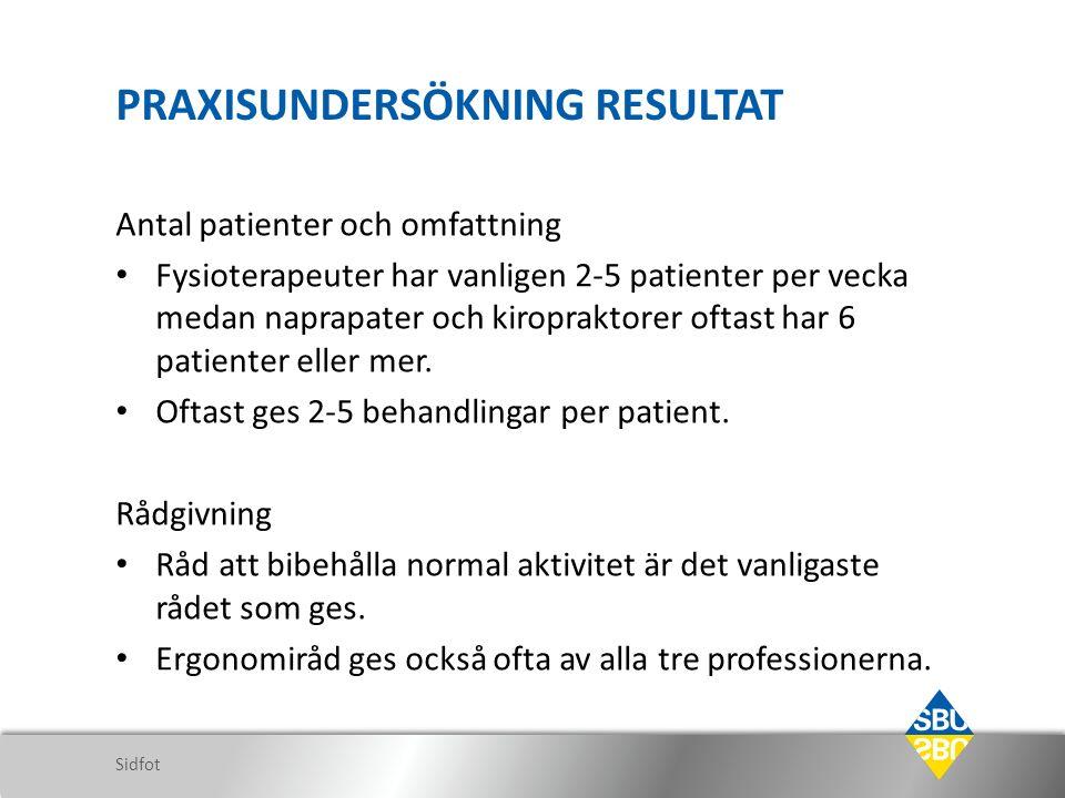 PRAXISUNDERSÖKNING RESULTAT Antal patienter och omfattning Fysioterapeuter har vanligen 2-5 patienter per vecka medan naprapater och kiropraktorer oftast har 6 patienter eller mer.