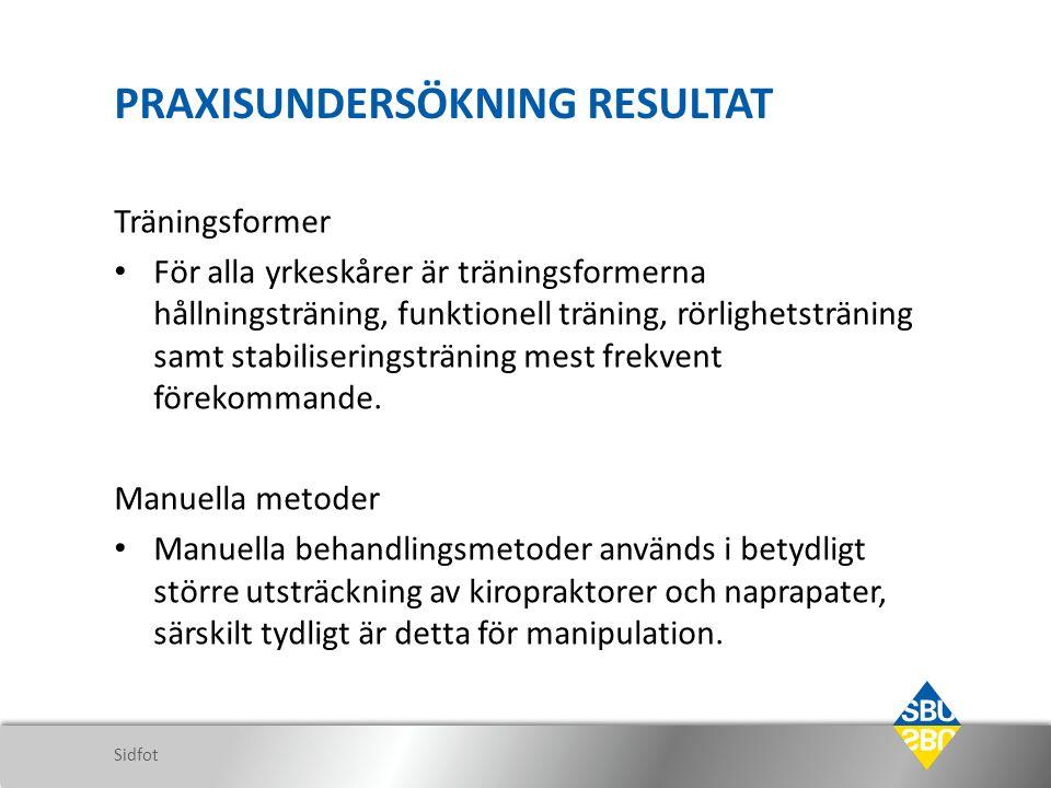 PRAXISUNDERSÖKNING RESULTAT Träningsformer För alla yrkeskårer är träningsformerna hållningsträning, funktionell träning, rörlighetsträning samt stabiliseringsträning mest frekvent förekommande.