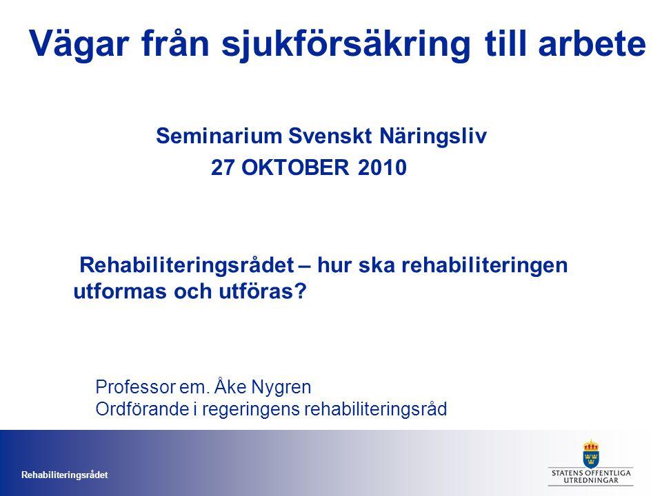 Rehabiliteringsrådet Rehabiliteringsrådet – hur ska rehabiliteringen utformas och utföras.