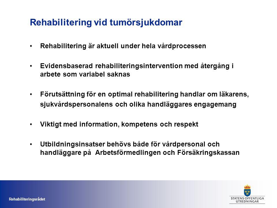 Rehabiliteringsrådet Rehabilitering vid tumörsjukdomar Rehabilitering är aktuell under hela vårdprocessen Evidensbaserad rehabiliteringsintervention med återgång i arbete som variabel saknas Förutsättning för en optimal rehabilitering handlar om läkarens, sjukvårdspersonalens och olika handläggares engagemang Viktigt med information, kompetens och respekt Utbildningsinsatser behövs både för vårdpersonal och handläggare på Arbetsförmedlingen och Försäkringskassan