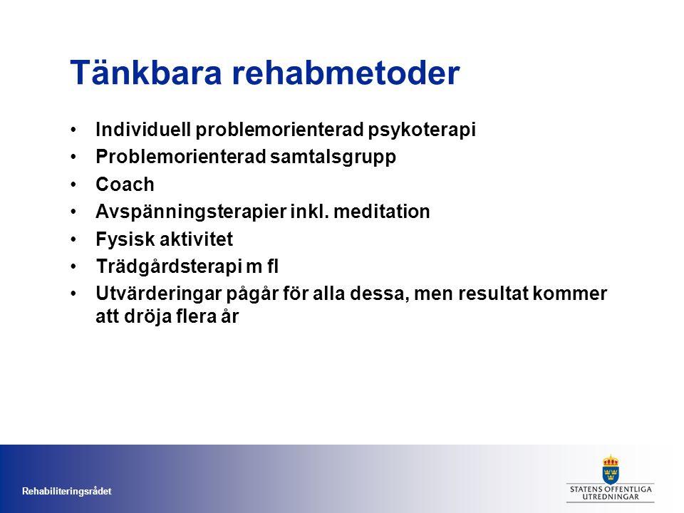 Rehabiliteringsrådet Tänkbara rehabmetoder Individuell problemorienterad psykoterapi Problemorienterad samtalsgrupp Coach Avspänningsterapier inkl.
