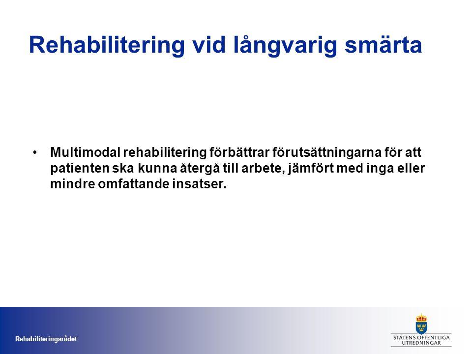 Rehabiliteringsrådet Rehabilitering vid långvarig smärta Multimodal rehabilitering förbättrar förutsättningarna för att patienten ska kunna återgå till arbete, jämfört med inga eller mindre omfattande insatser.