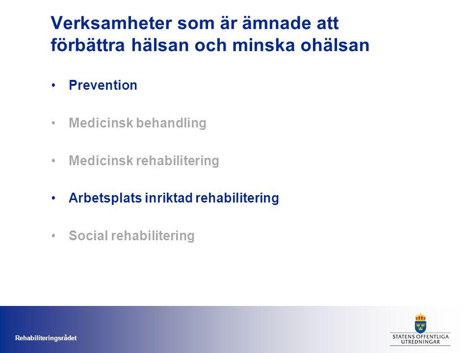 Rehabiliteringsrådet Verksamheter som är ämnade att förbättra hälsan och minska ohälsan Prevention Medicinsk behandling Medicinsk rehabilitering Arbetsplats inriktad rehabilitering Social rehabilitering