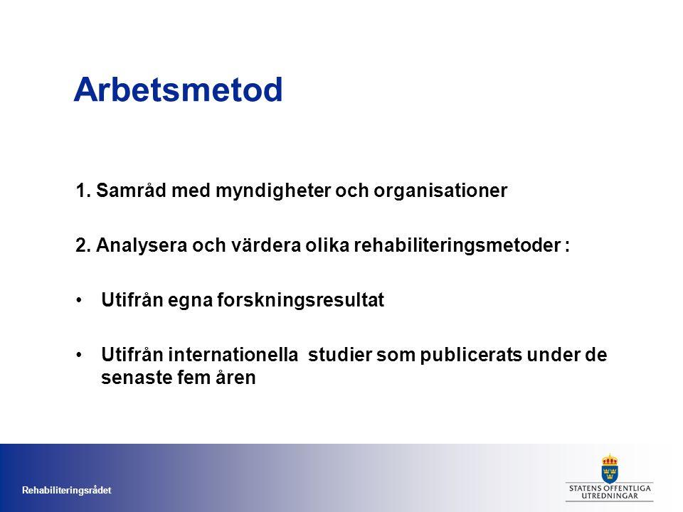 Rehabiliteringsrådet Arbetsmetod 1. Samråd med myndigheter och organisationer 2.