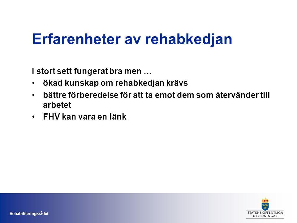 Rehabiliteringsrådet Erfarenheter av rehabkedjan I stort sett fungerat bra men … ökad kunskap om rehabkedjan krävs bättre förberedelse för att ta emot dem som återvänder till arbetet FHV kan vara en länk