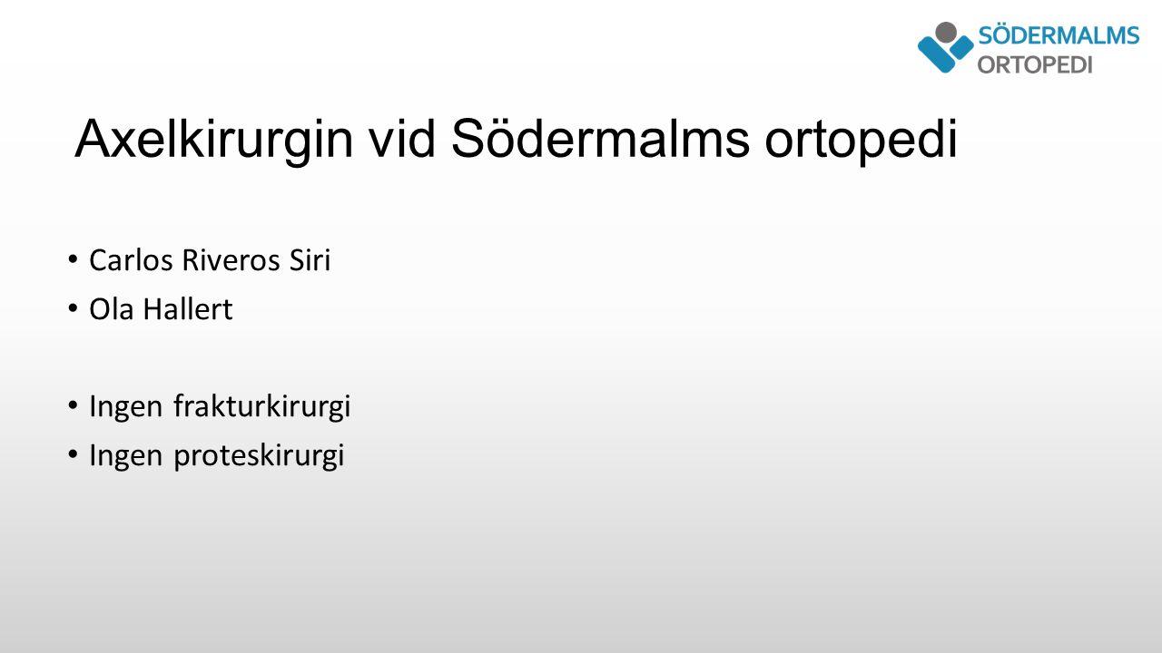 Axelkirurgin vid Södermalms ortopedi Carlos Riveros Siri Ola Hallert Ingen frakturkirurgi Ingen proteskirurgi