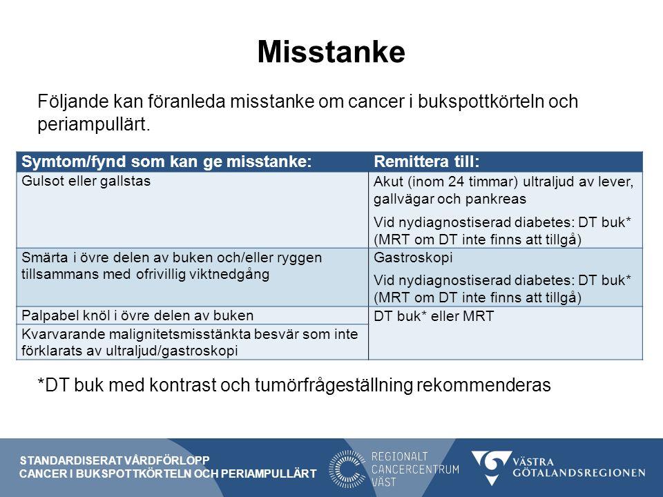 Misstanke Följande kan föranleda misstanke om cancer i bukspottkörteln och periampullärt.