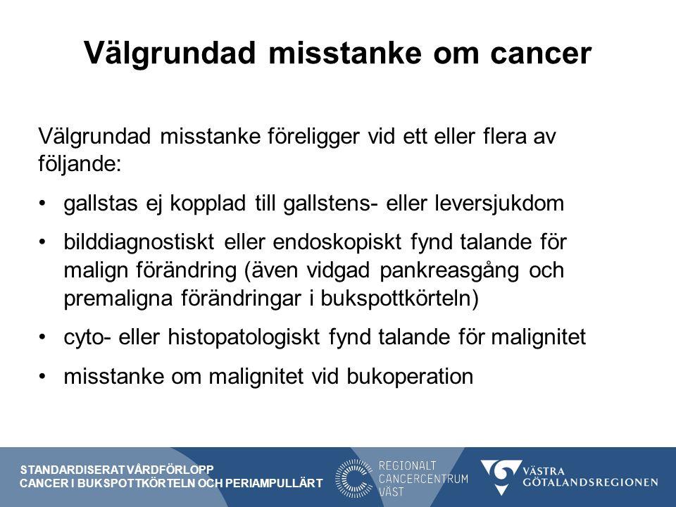 Välgrundad misstanke om cancer STANDARDISERAT VÅRDFÖRLOPP CANCER I BUKSPOTTKÖRTELN OCH PERIAMPULLÄRT Välgrundad misstanke föreligger vid ett eller flera av följande: gallstas ej kopplad till gallstens- eller leversjukdom bilddiagnostiskt eller endoskopiskt fynd talande för malign förändring (även vidgad pankreasgång och premaligna förändringar i bukspottkörteln) cyto- eller histopatologiskt fynd talande för malignitet misstanke om malignitet vid bukoperation